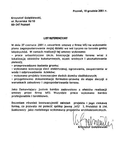 Referencje Gołębiewski